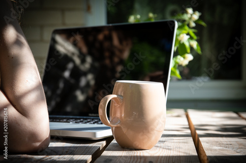 job with computer outdoors by wooden table at country work from
