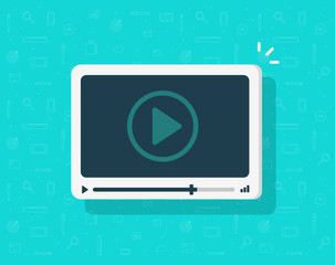 Video player icon vector, flat cartoon media player symbol isolated