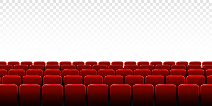 Creative vector illustration of movie cinema screen frame and theater interior. Art design premiere poster background, lights and rows red seats. Abstract concept graphic scene element