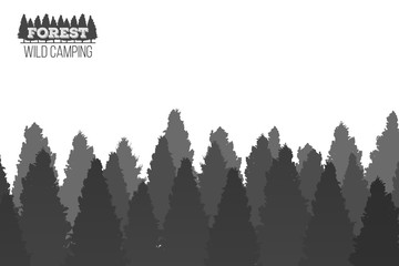 Creative vector illustration of wild coniferous pine tree forest background. Art design landscape nature wood panorama. Abstract concept graphic outdoor camping element