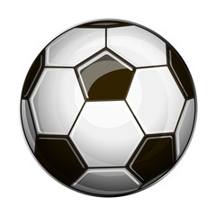 Isolated illustration of black and white soccer ball on white background