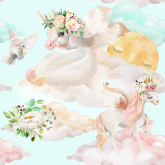 Beautiful, watercolor unicorns princess, pegasus in gold crown and floral, flowers bouquets, pigeon and clouds with moon seamless pattern