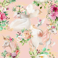 Beautiful, watercolor unicorns princess, pegasus in gold crown and floral, flowers peony and rose bouquets and pigeon on pink background seamless pattern