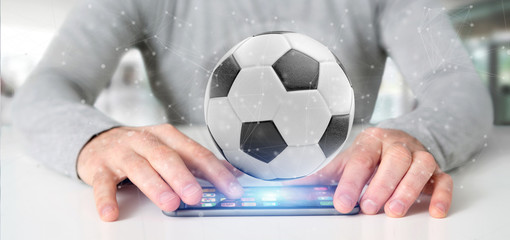 Man holding a Football ball and connection isolated  3d rendering