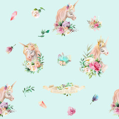 Beautiful watercolor unicorns princess, pegasus with violet and cream peony, pink roses, magic crystals and floral, flowers bouquets on baby blue background seamless pattern