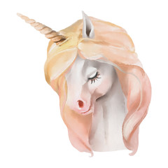 Beautiful, cute, watercolor unicorn head, portrait isolated on white