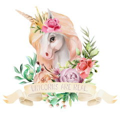 Beautiful, cute, watercolor unicorn head with gold crown and flowers, floral bouquet and ribbon with quote isolated on white