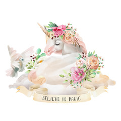 Beautiful, cute, watercolor dreaming unicorn on the cloud with flowers, floral bouquet, pigeon and ribbon with quote isolated on white