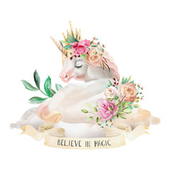 Beautiful, cute, watercolor dreaming unicorn on the cloud with flowers, floral bouquet and ribbon with quote isolated on white