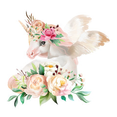 Beautiful, cute, watercolor dreaming unicorn, pegasus with wings and  flowers, floral crown, bouquet isolated on white