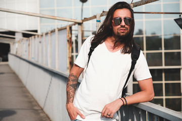 Attractive bearded man portrait with sunglasses