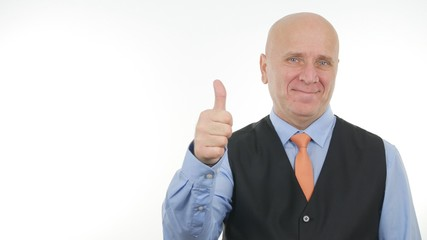 Businessman Image Smiling and Making Good Job Sign Thumbs Up