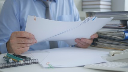 Businessman Working with Documents in Accounting Office