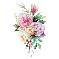 Beautiful watercolor floral bouquet, whimsical flowers wreath. Pink rose, violet and cream peony. Fantasy wedding arrangement isolated on white