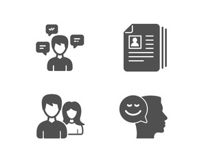 Set of Conversation messages, Cv documents and Couple icons. Good mood sign. Communication, Portfolio files, Male and female. Positive thinking.  Quality design elements. Classic style. Vector