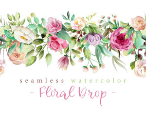 Beautiful watercolor flowers - violet roses, creaem peony and floral greenery branches and leaves seamless tileable drop