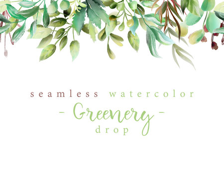 Beautiful watercolor floral greenery branches and leaves seamless tileable drop