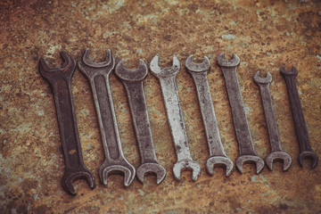 Set of wrench handy industrial tool sold keys in a mechanical workshop handy tool