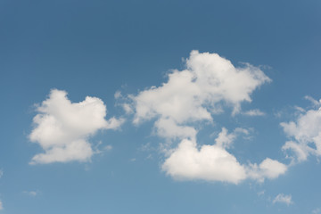 Blue sky with group of white clouds as wallpaper or background.