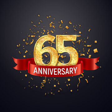 65 years anniversary logo template on dark background. Sixty-five celebrating golden numbers with red ribbon vector and confetti isolated design elements