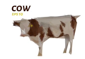 Cow of triangles. Low poly cow. Vector illustration.