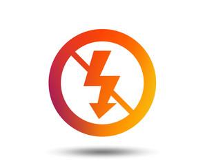 No Photo flash sign icon. Lightning symbol. Blurred gradient design element. Vivid graphic flat icon. Vector