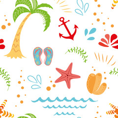Seamless vector summer vacation pattern with hand drawn palm tree seastar anchor summer colors on white background
