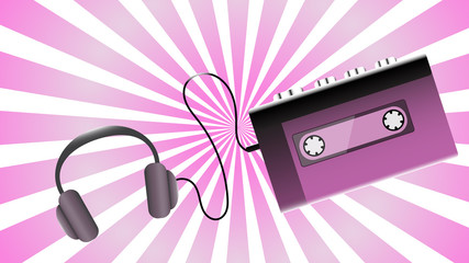 Violet old retro vintage hipster realistic voluminous portable music cassette audio player for audiocassettes from the 80's, 90's and headphones on a purple background. illustration