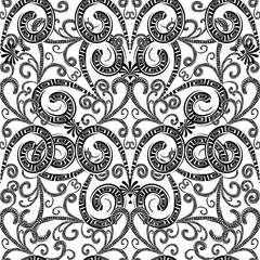 Vintage floral greek seamless pattern. Black and white monochrom