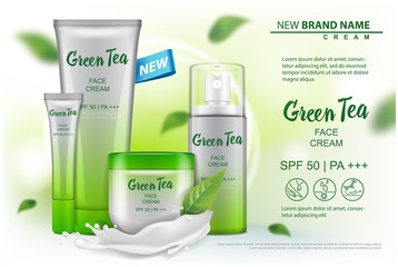 Cosmetics product mock up with green tea extract advertising for catalog, magazine. Vector design of cosmetic package. cream, gel, body lotion, spray