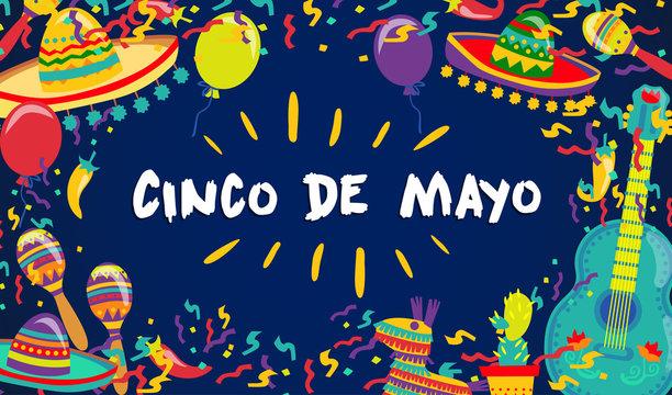 Cinco de Mayo Vector Poster Of Fiesta Elements. Mexican Attributes Sombreros, a Guitar, Cactus and decoration. Vector illustration