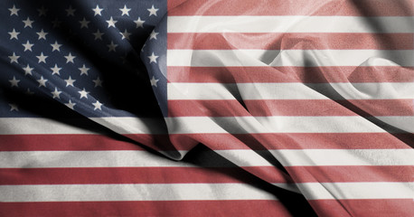 USA flag. Closeup of United States of America Rippled Waving Flag