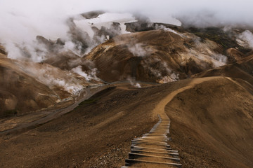 Mountain range in Iceland with geothermal hot springs and hiking trail