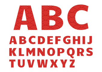 Red graphic font, alphabet with chinese pattern. Vector illustration