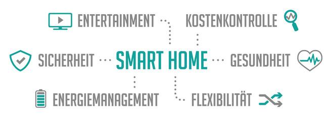 Infografik Smart Home Türkis