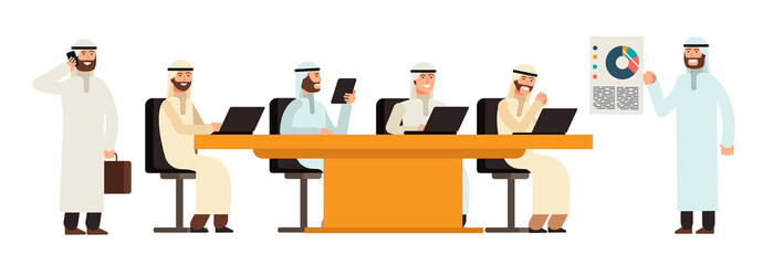 Arab businessmans group at table in bisiness meeting. Arabic saudi men cartoon vector characters