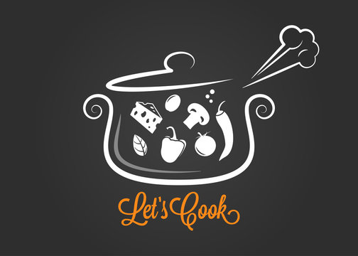 saucepan with food ingredients cooking logo on dark background