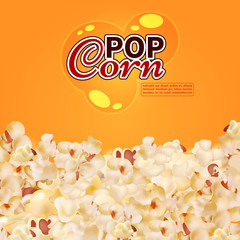 Realistic popcorn vector background. Cinema, fast food banner template