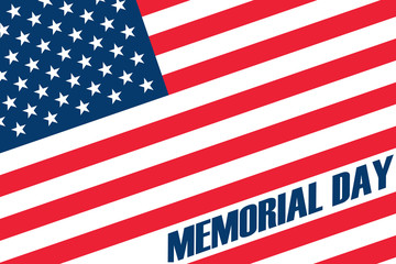 Memorial Day. Remember and honor flag background. Vector illustration