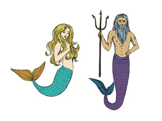 Blonde mermaid and Neptune holding trident, hand drawn doodle sketch, vector color illustration