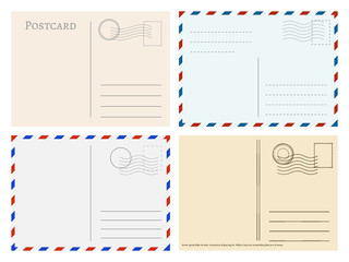 Travel postcard templates. Greetings post cards backside vector set