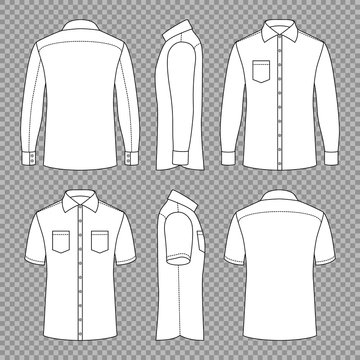Casual mans blank outline shirts with short and long sleeves in front back and side views. Vector template isolated