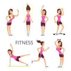 Cartoon sport young woman characters, fitness girl isolated on white background
