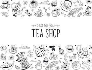 Tea time doodle elements in horizontal border. Teapots, cups, cupcakes and sweets isolated on white background. Tea shop design template.