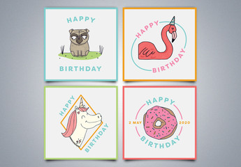 4 Happy Birthday Social Media Post Layouts with Colorful Illustrations