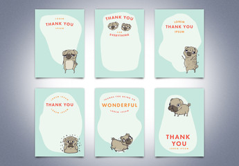 Thank You Card Set with Pug Illustrations