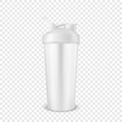 Vector realistic 3d white empty glossy metal shaker for sports nutrition closeup isolated on transparency grid background. Design template of packaging mockup for graphics. Front view