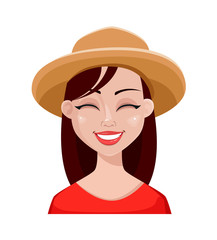 Face expressions of farmer woman in hat