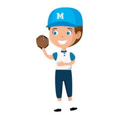 little boy playing baseball character vector illustration design