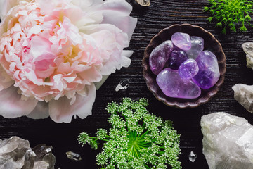 Amethyst and Quartz with Peony and Queen Anne's Lace